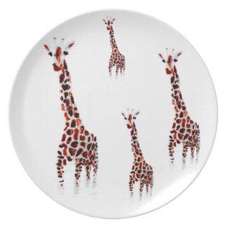 Giraffe Wildlife Art Plate