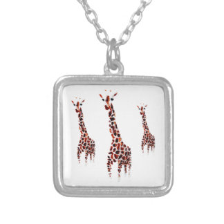 Giraffe Wildlife Art Silver Plated Necklace
