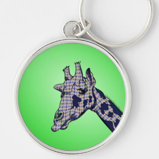 Giraffe With Argyle Patterned Sink And Blue Spots Silver-Colored Round Key Ring