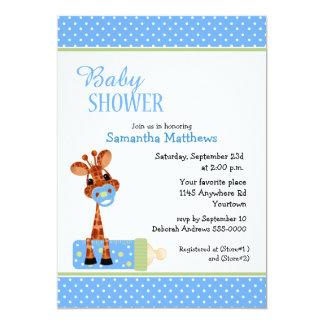 "Giraffe with Baby Bottle Shower 5"" X 7"" Invitation Card"