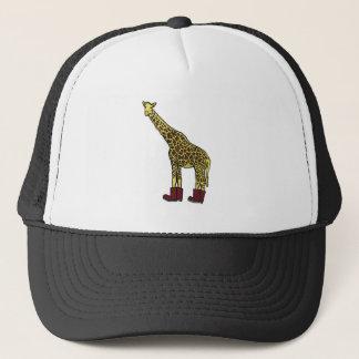 Giraffe with boots trucker hat