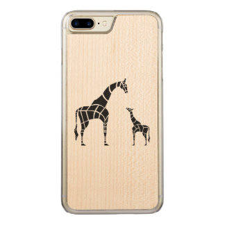 Giraffe with Calf Carved iPhone 8 Plus/7 Plus Case