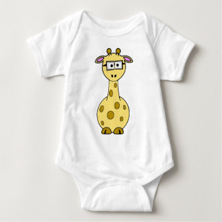 giraffe with glasses baby bodysuit