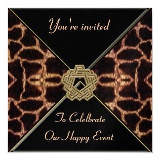 Giraffe with Gold Decor Collection 13 Cm X 13 Cm Square Invitation Card