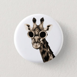 Giraffe With Steampunk Sunglasses Goggles 3 Cm Round Badge