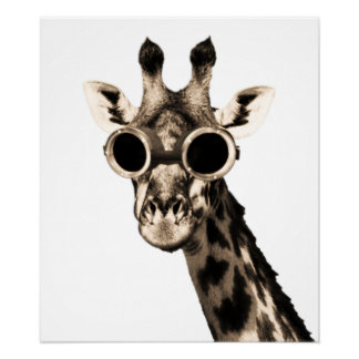 Giraffe With Steampunk Sunglasses Goggles Poster