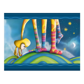 Giraffe With Striped Socks Postcard