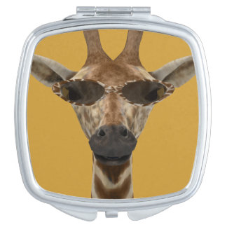 Giraffe with Sunglasses Travel Mirrors