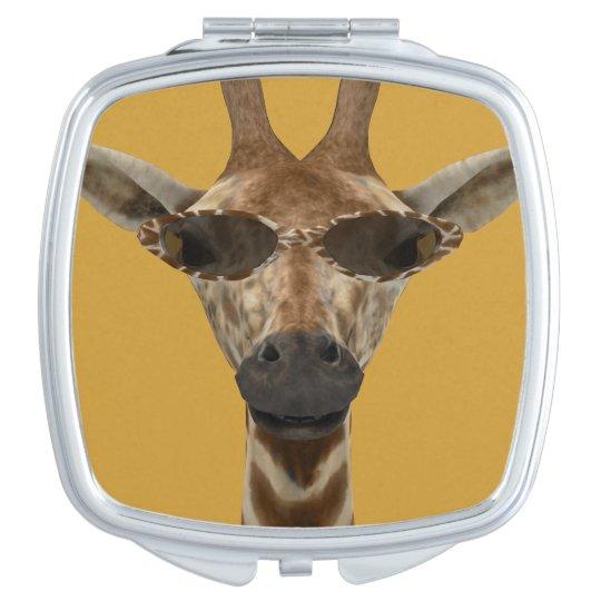 Giraffe with Sunglasses Travel Mirrors