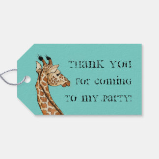 giraffe with teal background gift tags