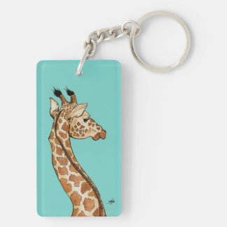 Giraffe with teal Double-Sided rectangular acrylic key ring