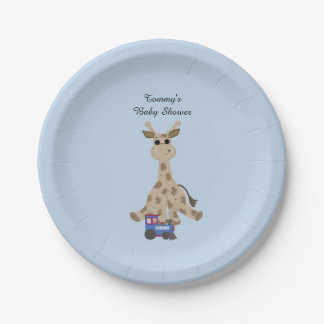 Giraffe With Train Baby Shower 7 Inch Paper Plate