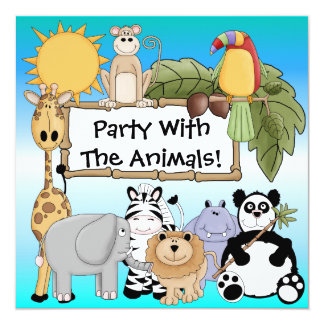Giraffe Zebra Lion Zoo Animals Birthday Invitation