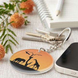 Giraffeblack silhouette african orange sunset Double-Sided round acrylic key ring