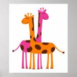 giraffes-297326  giraffes orange pink cartoon safa poster