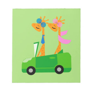 Giraffes and Car Notepad