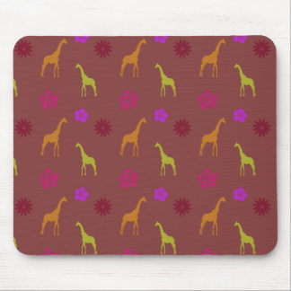 GIRAFFES AND FLOWERS | modern pattern Mouse Pad