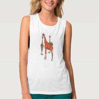 Giraffes and Indigo Owl Flowy Muscle Tank Top