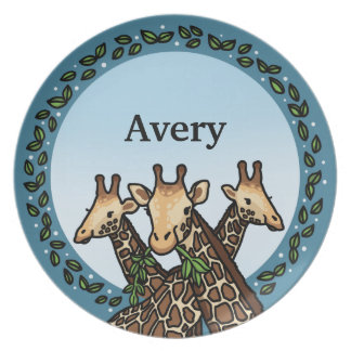 Giraffes and Laurel, Add Your Name Dinner Plates