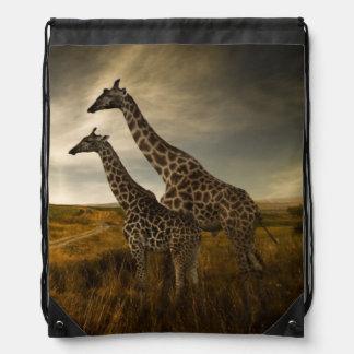 Giraffes and The Landscape Drawstring Bag