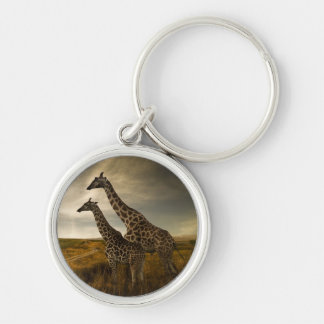 Giraffes and The Landscape Key Ring