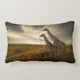 Giraffes and The Landscape Lumbar Cushion
