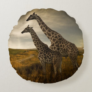 Giraffes and The Landscape Round Cushion