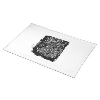 Giraffes and Tree Tops. Black and White Placemat