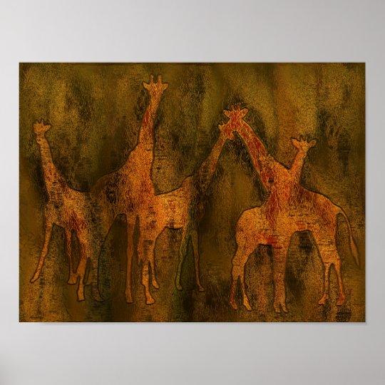 Giraffes Art Mural Poster