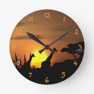 Giraffes At Nairobi Safari Sunset Watercolor Art Round Clock