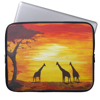 Giraffes At Sunset (Kimberly Turnbull Art) Laptop Sleeve
