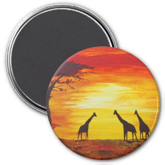Giraffes At Sunset Kimberly Turnbull Art Fridge Magnets