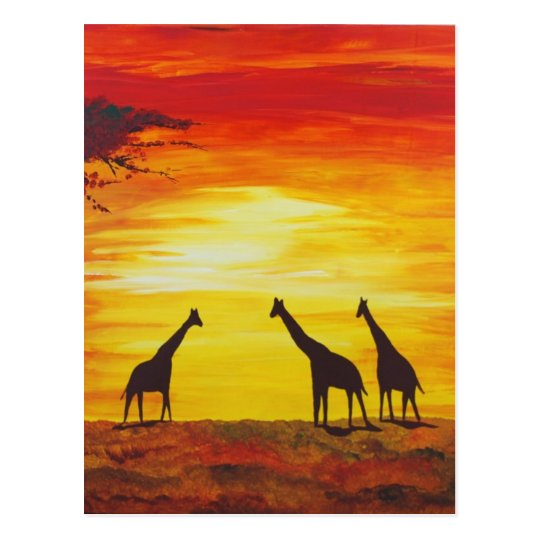 Giraffes At Sunset (Kimberly Turnbull Art) Postcard