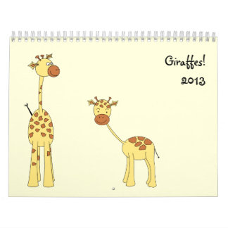 Giraffes Calendar 2013. Cute Cartoons