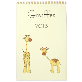 Giraffes Calendar 2013. Cute Cartoons.