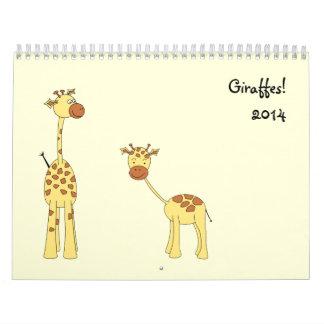 Giraffes Calendar 2014. Cute Cartoons