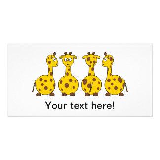 Giraffes cartoons customized photo card