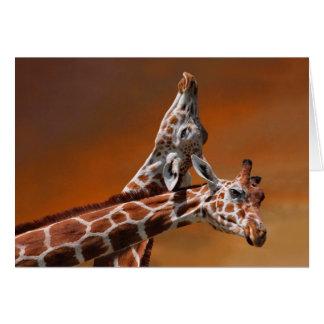 Giraffes couple in love greeting card