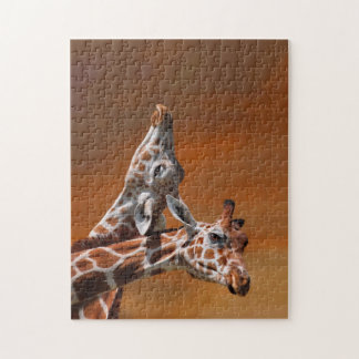Giraffes couple in love puzzles