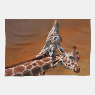 Giraffes couple in love tea towel