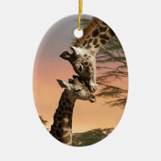Giraffes Greeting Each Other Ceramic Oval Decoration