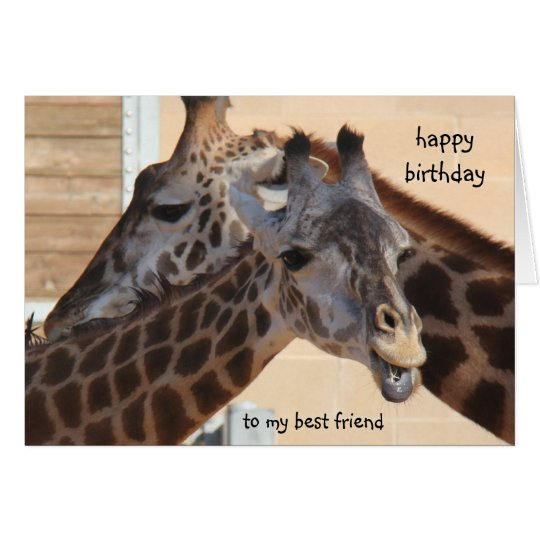 Giraffes Happy Birthday Best Friend, blank inside Card