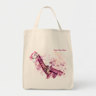 Giraffe's Hugging in Pink Tote Bag