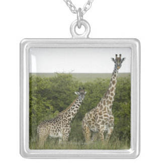 Giraffes in Kenya, Africa 2 Silver Plated Necklace