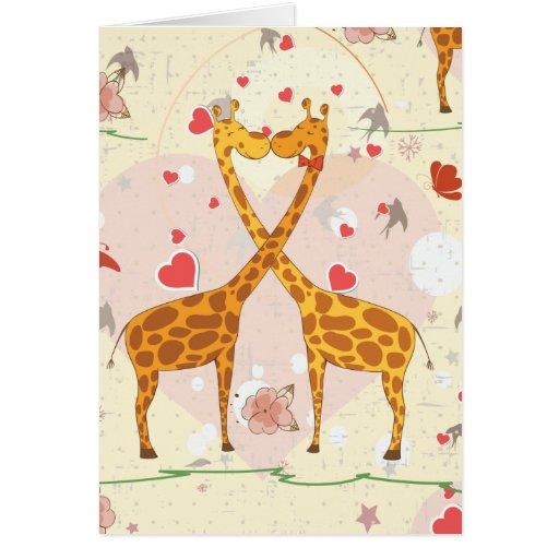 Giraffes in Love Cards