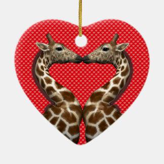 Giraffes In Love Christmas Ornament