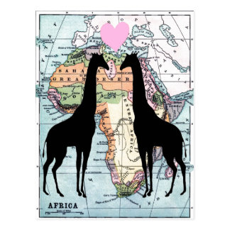 Giraffes in love postcard