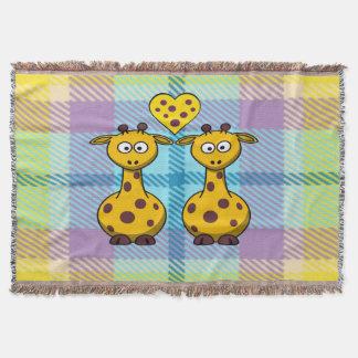 Giraffes in Love Throw Blanket