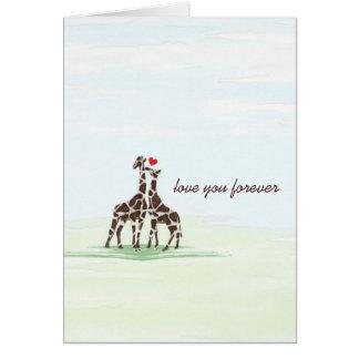 Giraffes in Love Valentine Card
