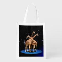 GIRAFFES IN SPACE GROCERY BAG